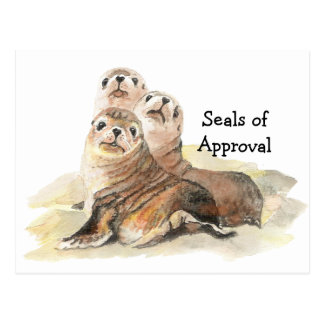 "Fun ""Seals of Approval"" with Cute Watercolor Seals Postcard"