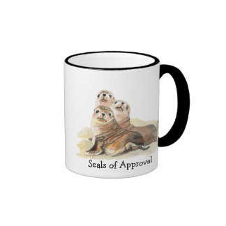 "Fun ""Seals of Approval"" with Cute Watercolor Seals Ringer Mug"