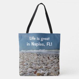 Fun Seashells at Naples Beach Print Tote Bag