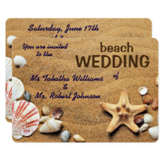Fun Seashells Design Beach Wedding Invitation at Zazzle