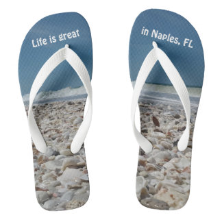 Fun Seashells on the Beach Flip Flops