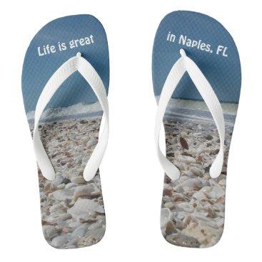 Beach Themed Fun Seashells on the Beach Flip Flops