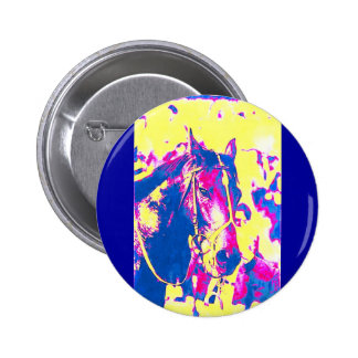 Fun Seattle Slew Thoroughbred Racehorse Watercolor Button
