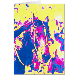 Fun Seattle Slew Thoroughbred Racehorse Watercolor Card