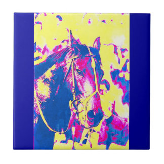 Fun Seattle Slew Thoroughbred Racehorse Watercolor Ceramic Tile