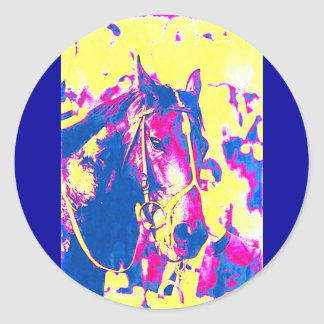 Fun Seattle Slew Thoroughbred Racehorse Watercolor Classic Round Sticker