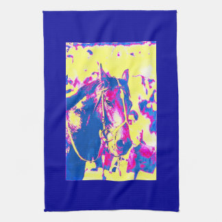 Fun Seattle Slew Thoroughbred Racehorse Watercolor Hand Towel