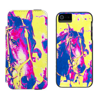 Fun Seattle Slew Thoroughbred Racehorse Watercolor iPhone SE/5/5s Wallet Case