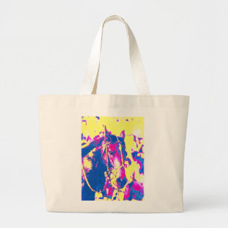 Fun Seattle Slew Thoroughbred Racehorse Watercolor Large Tote Bag