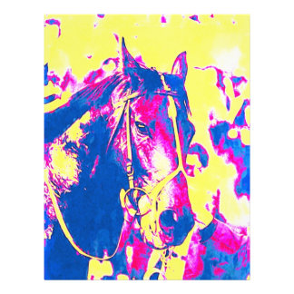 Fun Seattle Slew Thoroughbred Racehorse Watercolor Letterhead