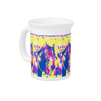 Fun Seattle Slew Thoroughbred Racehorse Watercolor Beverage Pitchers