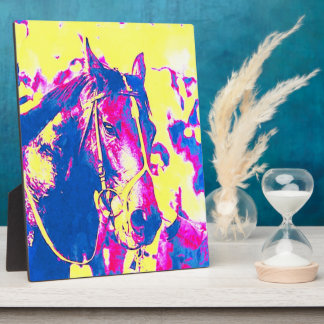 Fun Seattle Slew Thoroughbred Racehorse Watercolor Plaque