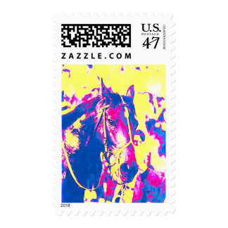 Fun Seattle Slew Thoroughbred Racehorse Watercolor Postage