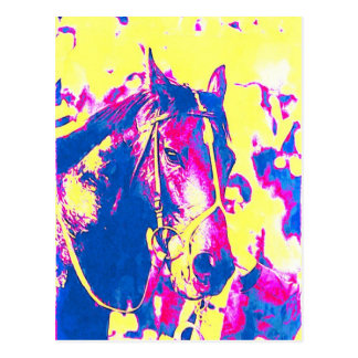 Fun Seattle Slew Thoroughbred Racehorse Watercolor Postcard