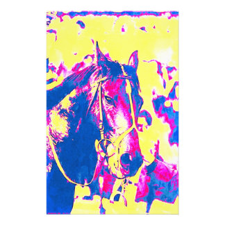 Fun Seattle Slew Thoroughbred Racehorse Watercolor Stationery