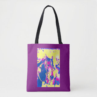Fun Seattle Slew Thoroughbred Racehorse Watercolor Tote Bag