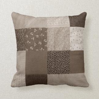 fun sepia fabric patchwork vintage art designer throw pillow