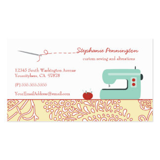 Fun sewing fashion design customized business card