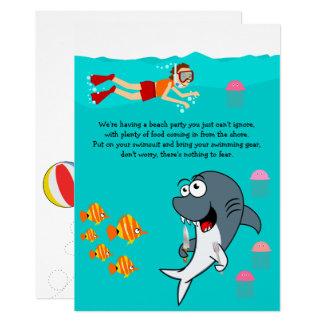 Fun Shark Beach Party Birthday Card