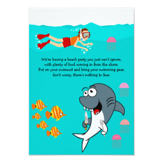 Fun Shark Beach Party Birthday Invitation