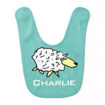 Fun sheep design. Add choice of name. Baby Bib