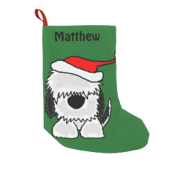Fun Sheepdog in Santa Hat Christmas Stocking Small Christmas Stocking