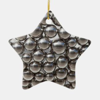 Fun Shiny Balls Double-Sided Star Ceramic Christmas Ornament