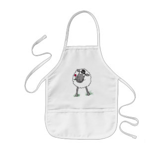 Fun Silly Sheep with Flower, White Apron