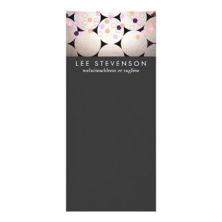 Fun Silver Circles Stylish Black Event Menu Rack Card Template