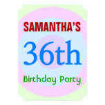 "[ Thumbnail: Fun, Simple ""36th Birthday Party"" Invitation ]"