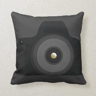 Fun Simple Black Generic SLR Photography Camera Throw Pillow