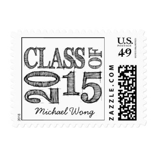 Fun & Simple Pen Sketch Class of 2015 Postage Stamps