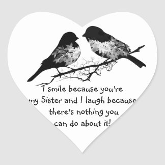 Fun Sister Quote with Cute Bird Humor Stickers
