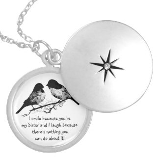 Fun Sister Saying with Cute Birds Humor Locket Necklace