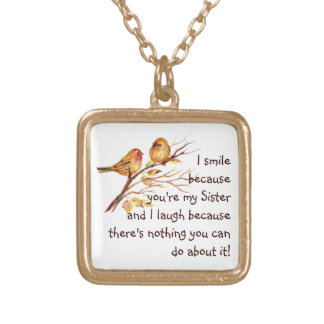 Fun Sister Saying with Cute Birds Square Pendant Necklace