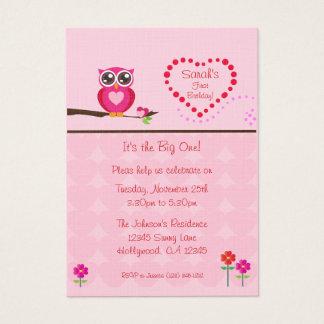 Fun Size Pink  Owl First Birthday Invitation