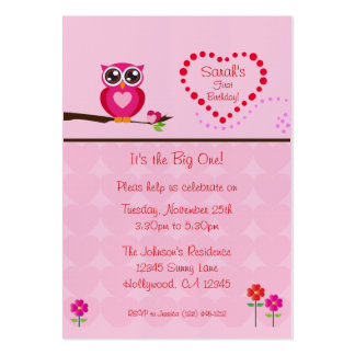 Fun Size Pink  Owl First Birthday Invitation Business Card Templates