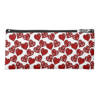 Fun Sketchy Hearts Pattern Pencil Case