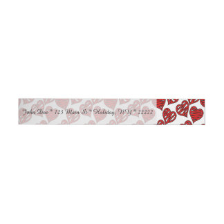 Fun Sketchy Hearts Pattern Wrap Around Address Label