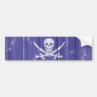 Fun skull cross swords on blue wood panel printed bumper sticker