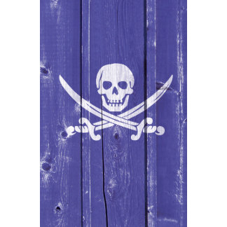 Fun skull cross swords on blue wood panel printed wall calendar
