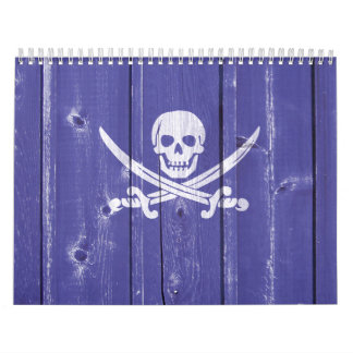 Fun skull cross swords on blue wood panel printed calendar