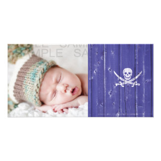 Fun skull cross swords on blue wood panel printed card