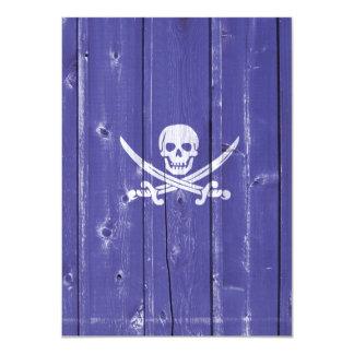 Fun skull cross swords on blue wood panel printed card