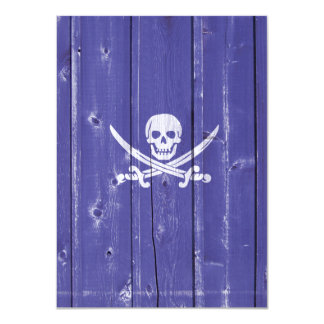 "Fun skull cross swords on blue wood panel printed 4.5"" x 6.25"" invitation card"