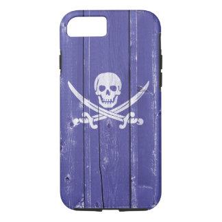 Fun skull cross swords on blue wood panel printed iPhone 7 case