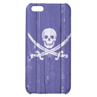 Fun skull cross swords on blue wood panel printed iPhone 5C covers