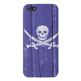 Fun skull cross swords on blue wood panel printed case for iPhone 5