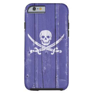 Fun skull cross swords on blue wood panel printed tough iPhone 6 case