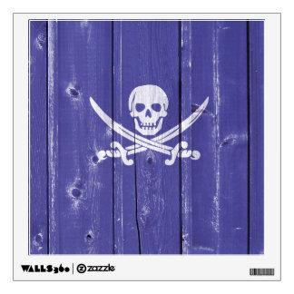 Fun skull cross swords on blue wood panel printed wall decal